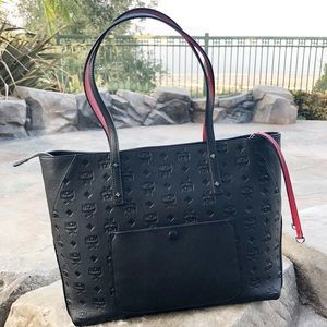 MCM Black embossed Klara Shopper tote black red